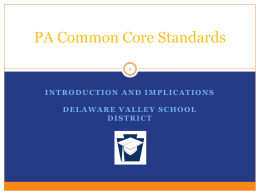PA Common Core - Delaware Valley School District