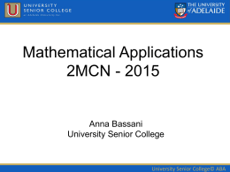 Maths Applications Transistion Lecture