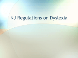 NJ Regulations on Dyslexia