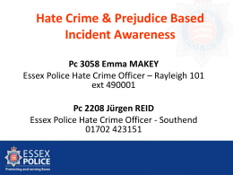 Stop the Hate - tackling hate crime in Essex