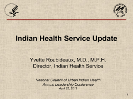 IHS Priorities - National Council of Urban Indian Health