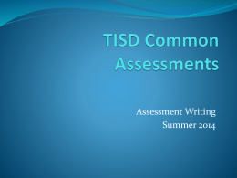 Common Assessment Training - TISD