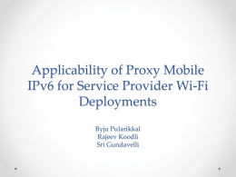 Applicability of Proxy Mobile IPv6 for Service Provider Wi