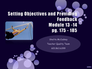 Setting Objectives and Providing Feedback Module 13