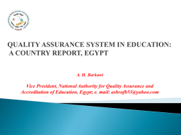 quality assurance system in education: a country report, egypt