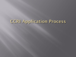CCRI Application Process - Cranston Public Schools