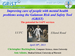 GRiST – 10th April 2013