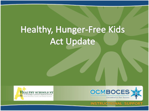 Healthy, Hunger-Free Kids Act Information - Jamesville