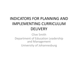 ELI SMT Capacity Building training Indicators for planning and