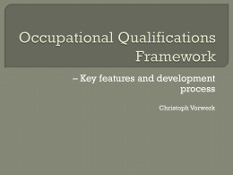 Occupational Qualifications Framework – Key features and