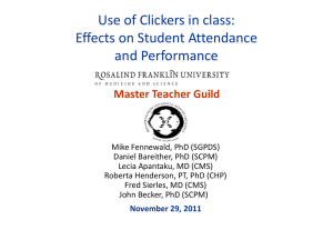 Use of Clickers in Class - Rosalind Franklin University