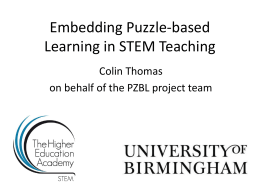 Embedding Puzzle-based Learning in STEM