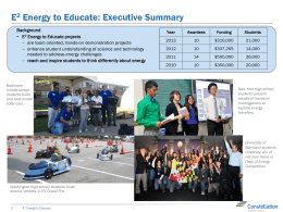 E2 Energy to Educate Highlights