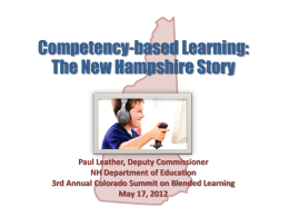 Competency-based Learning:The New Hampshire Story