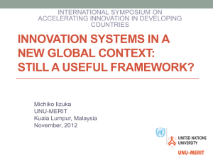 Innovation systems in a new global context: still a useful - unu
