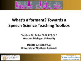 What*s a formant? Towards a Speech Science Teaching Toolbox