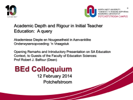Presentation on Education SA and the BEd: Prof Balfour