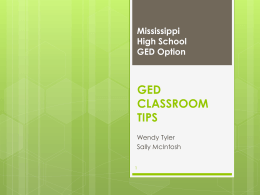 GED CLASSROOM TIPS