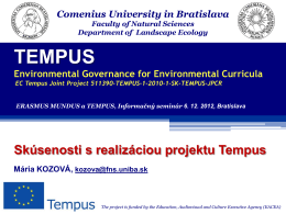 Environmental Governance for Environmental Curricula
