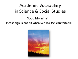 July 18th Academic Vocabulary Full Day