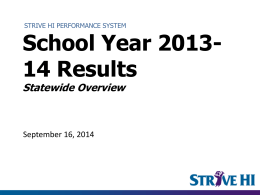 BOE Presentation: Strive HI 2013-14 Overview