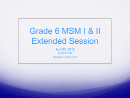 Grade 6 MSM I and II - the Howard County Public Schools