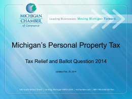 August 2014 Ballot Question - Michigan Chamber of Commerce