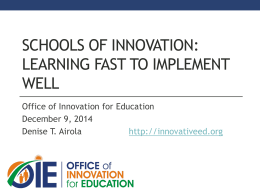 Schools of Innovation 2014-2015 Leader Presentation