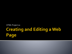 Creating and Editing a Web Page - Webdesign