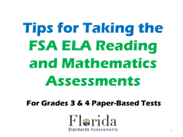 Grades 3 & 4 FSA ELA Reading and Mathematics Student