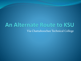 An Alternate Route to KSU - Kennesaw State University