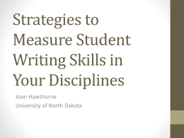 Strategies to Measure Student Writing Skills in Your Disciplines