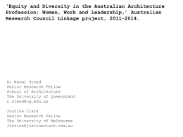 Equity and Diversity in the Australian Architecture Profession