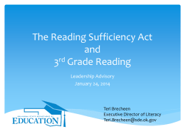 Reading Sufficiency Act - Watonga Public Schools