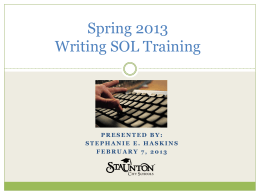 Spring 2013 Writing SOL Training
