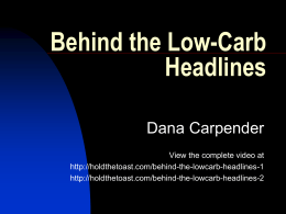 Behind the Low-Carb Headlines - Low
