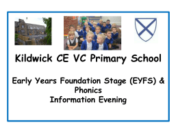 Kildwick CE VC Primary School Early Years Foundation Stage