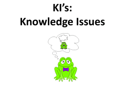 KI*s: Knowledge Issues