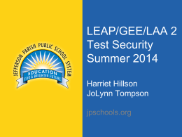 Test Security Measures Summer 2014