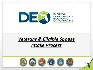 Vet Intake Process 2014 - Department of Economic Opportunity