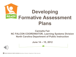 Developing Formative Assessment Plans