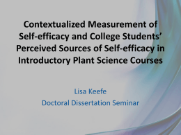 Contextualized Measurement of Self- efficacy and College Students