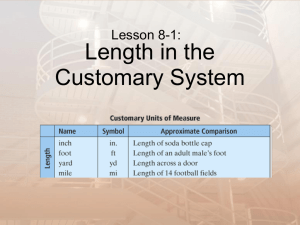 8-1 Lenght in the Customary System