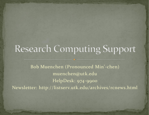 Research Computing Support Presentation by Bob