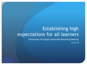 Rationale and Strategies for Establishing High Expectations