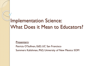 Implementation Science: What Does it Mean to Educators?
