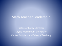 Math Teacher Leadership