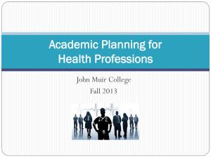Planning for PreHealth Students