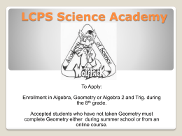 Overview of Plans for the new LCPS Science Academy