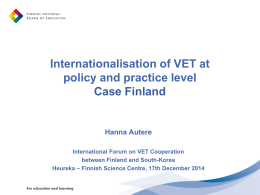 WHAT is Internationalisation of VET?